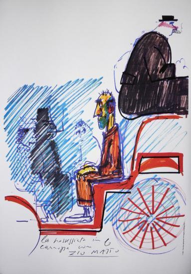 Federico Fellini,Amarcord,Pupella Maggio,Armando Brancia,Ciccio Ingrassia,Giuseppe Ianigro,Litografia,Disegno,Storyboard