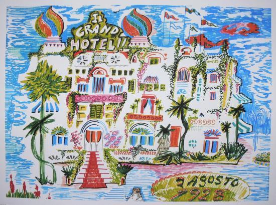 Federico Fellini,amarcord,Il grand hotel,Litografia,Disegno,Storyboard