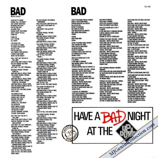 Maxi 45 Tours promo - Bad up & down Brésilien (52.105) Bad-Up--Down---Back-Cover