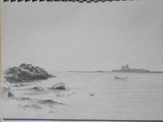 En baie de Saint-Vaast la Hougue.Crayon 2B.1998.