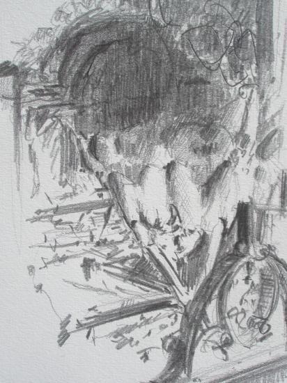 poulet à la crapaudine. Crayon 2B.1998