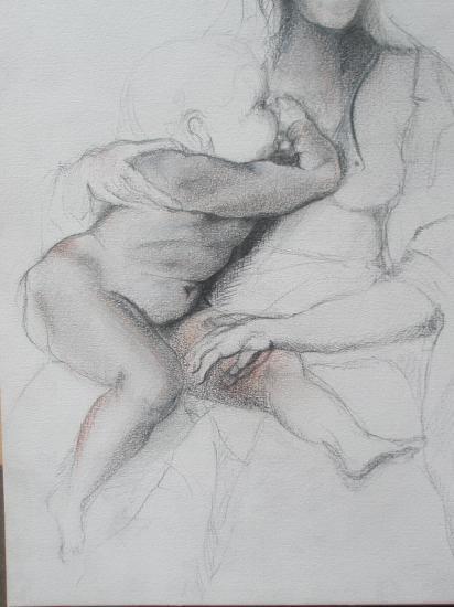 D'après Micel-Ange. Vierge à l'enfant. Crayon et sanguine. 1999