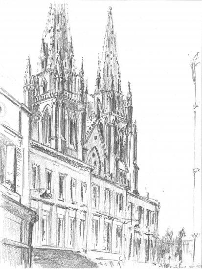 Rue notre-Dame.Crayon 2B. 2009.