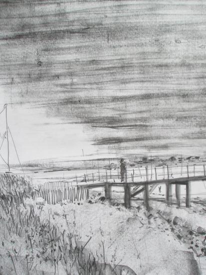 L'embarcadère à la pointe d'Agon. Crayon.