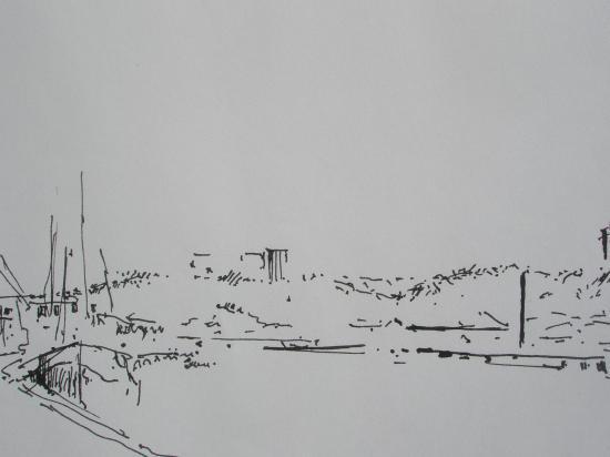 le quai Louis XVIII depuis les hangars. Encre.1998.