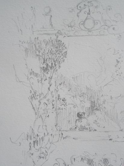Chateau de Mongenan. Crayon.