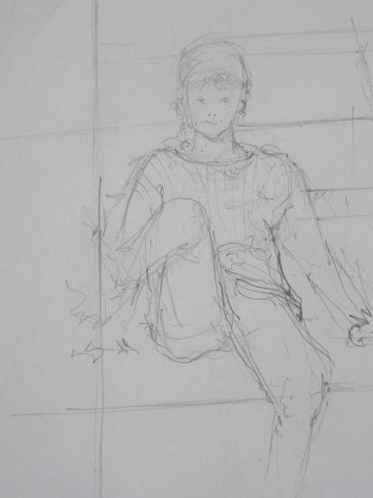 Dans le bateau. Crayon. 1999.