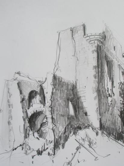 Château près de Quillan. Crayon.