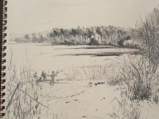 lac près de Mende. Crayon
