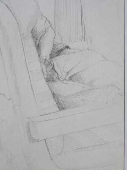 Dans le train. Crayon