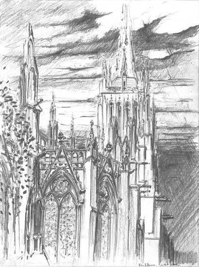 Cathédrale Saint-André.Place Pey-Berland. Crayon 2B.2009