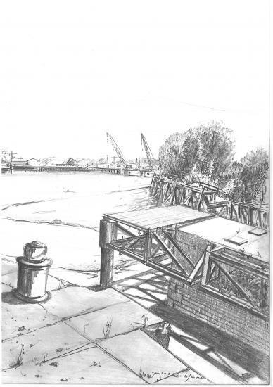 L'entrée des bassins à flots avec le chantier du pont levant.Crayon 2B. 2010.