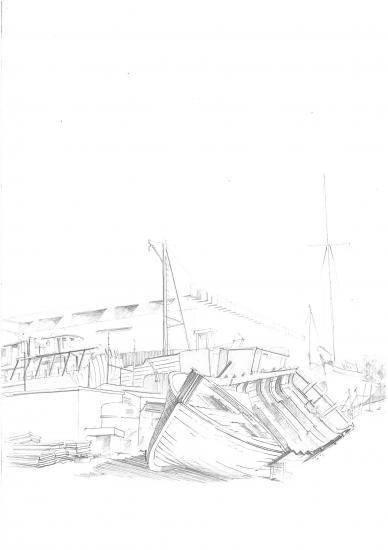 Bateaux sur pieds à la base sous marine. Crayon 2B.2010
