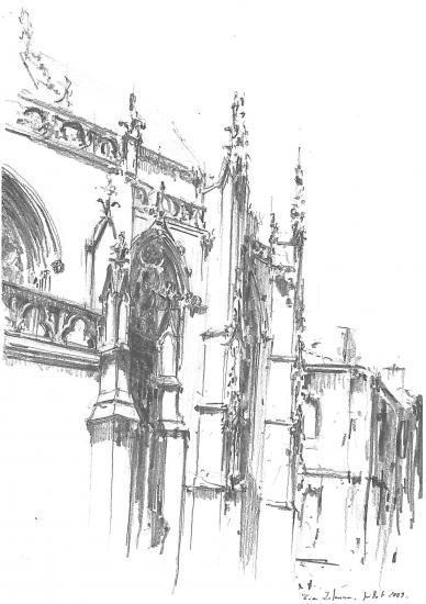 Chevet de l'église Saint-Pierre. Crayon 2B.2010