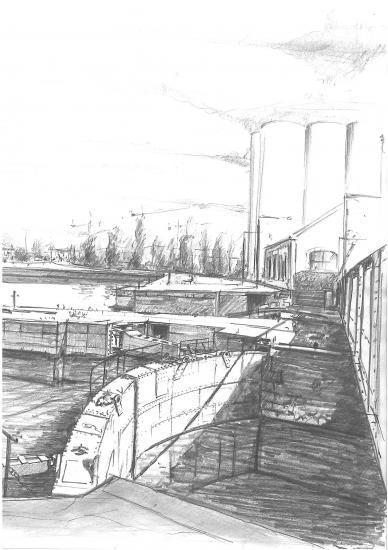 La grande écluse. crayon 2B.2010.
