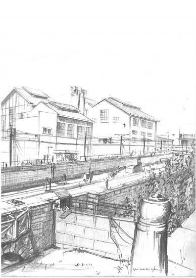 L'usine Lesieur aux bassins à flots.Crayon 2B. 2010.