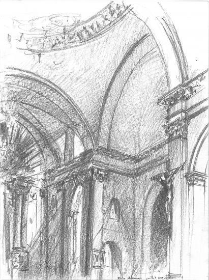 Intérieur de l'église Saint-Paul. Rue des Ayres. Crayon 2B.2009.