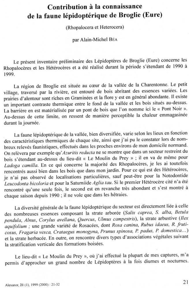 Contribution à la connaissance de la faune lépidoptérique de Broglie