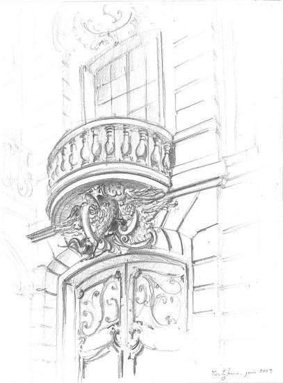 le dragon du Gorthe institut. Cours de Verdun. Crayon 2B. 2009.