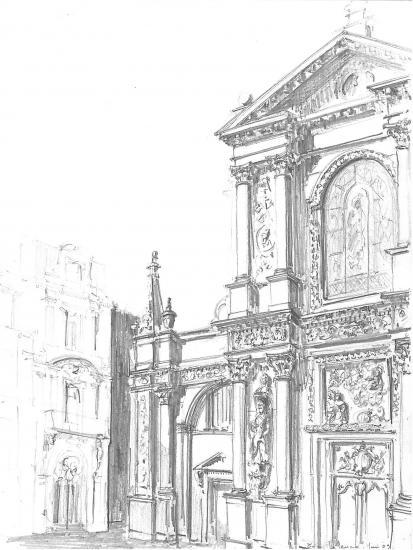 Eglise Notre-Dame. Rue Mably.Crayon 2B.2009
