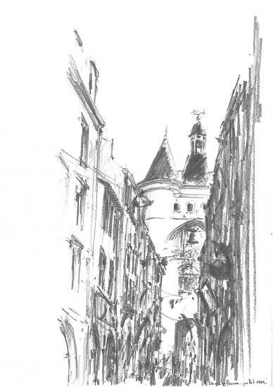 Rue Saint-James. Crayon 2B. 2009