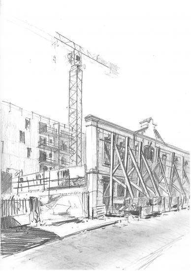 Rue de la Faïencerie. Crayon 2B.2010.