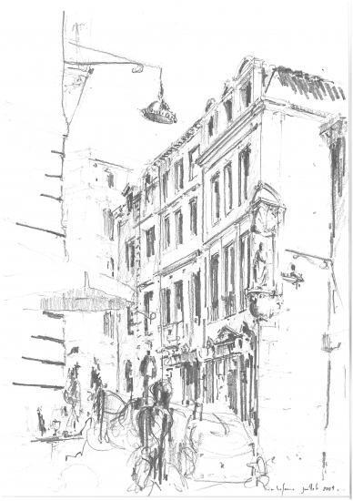 Rue des Bahutiers. Crayon 2B.2009.