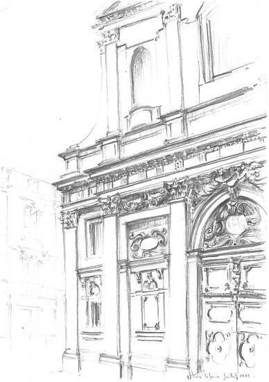 Eglise Saint-Paul. Rue des Ayres.Crayon 2B.2010.