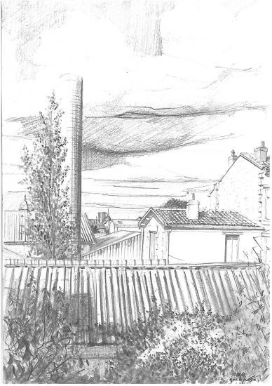 depuis la rue Chantecrit avant la COGEDIM. Crayon 2B.2010.