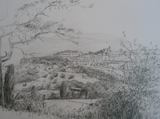 paysage Sierra de Guara. Crayon 2B. 2009.