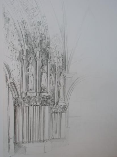 Portail Sud. Saint-Seurin. Crayon 2B.2009.