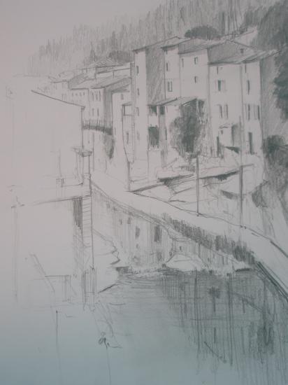 Rennes les bains. Crayon 2B.1995.