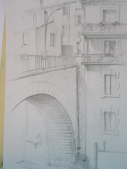 la maison du pont. Rennes les bains. Crayon 2B. 1995.