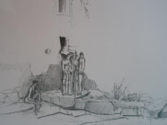 les bains doux.Rennes les bains. Crayon 2B. 1995.