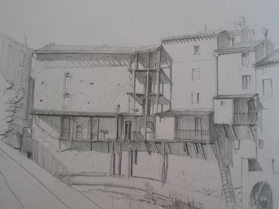 Rennes les bains.Crayon 2B.1995