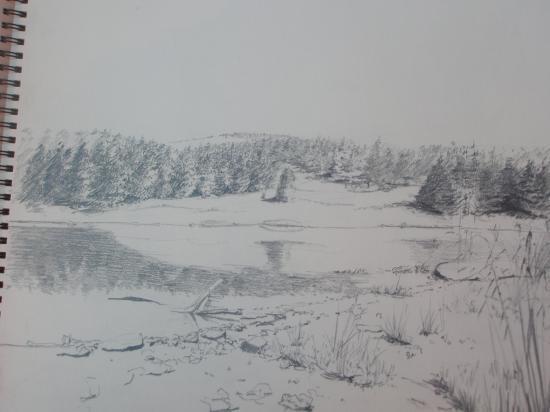 lac de Charpal. crayon 2B.