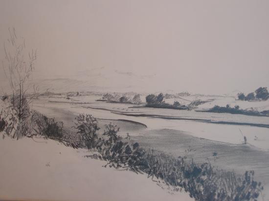 Baie de Sienne. Crayon 2B.