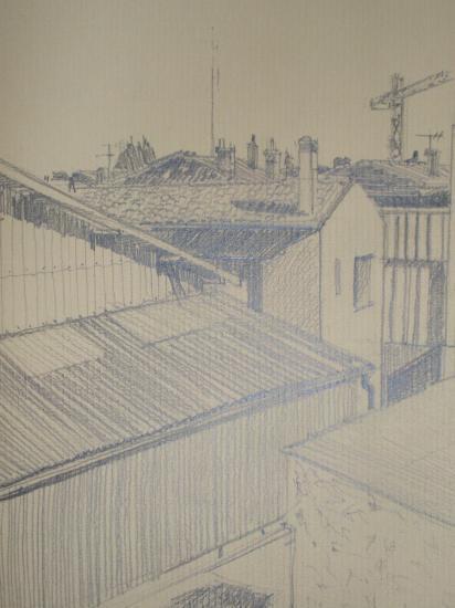 Vue de la rue du commandant Hautreux crayon 1998