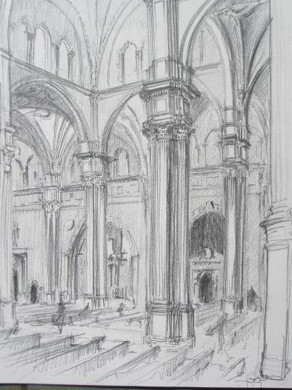 Cathedrale de Grenade crayon 2B 2010