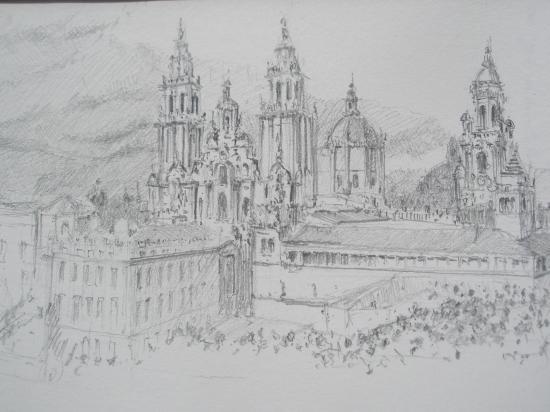 Santiago de Compostella crayon 2B 2008