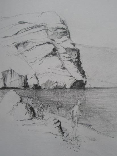 Côte près de Cabo de Gata crayon 2B 2007