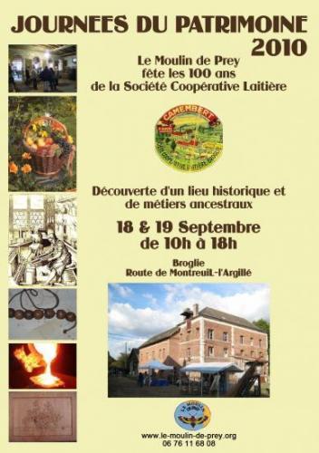 Affiche officielle du Moulin de Prey des JEP 2010 Remerciement aux artiste qui me l'ont conçue.AM.B