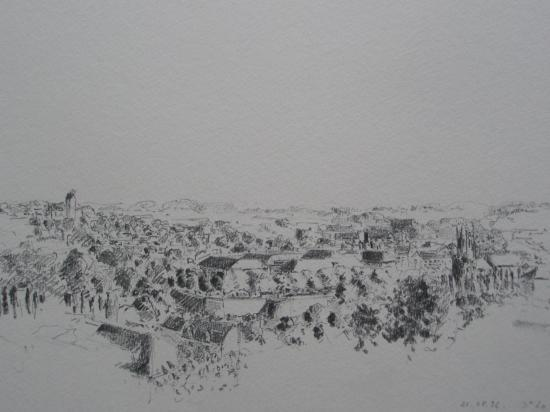 Un coin de Saint-Lo vu de l'hopital crayon 1996