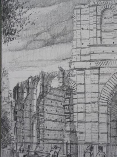 Amphithéâtre du palais gallien crayon 2B 2010