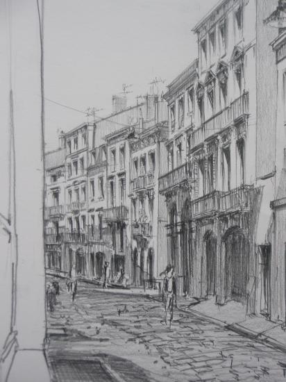 Rue de la Rousselle crayon 2B 2010