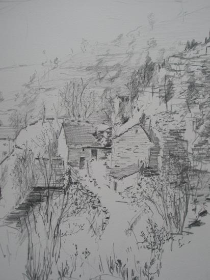 Village (je ne sais plus où) crayon 2B 2007