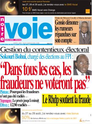 Notre Voie, le journal du FPI (Camp présidentiel)