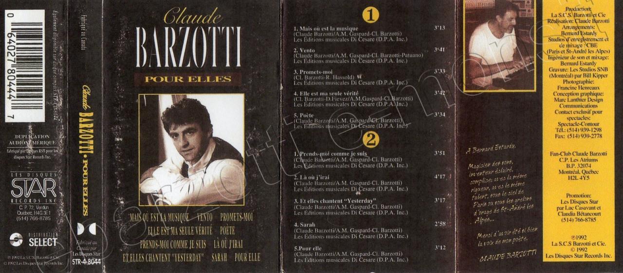 K7 audio Pour elles Canada 1992