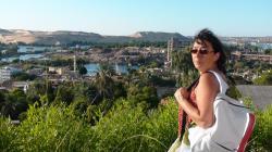 Vue panoramique des terrasses du Basma sur Assouan - Août 2009