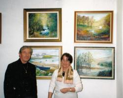 Claude Giraudeau devant mes toiles